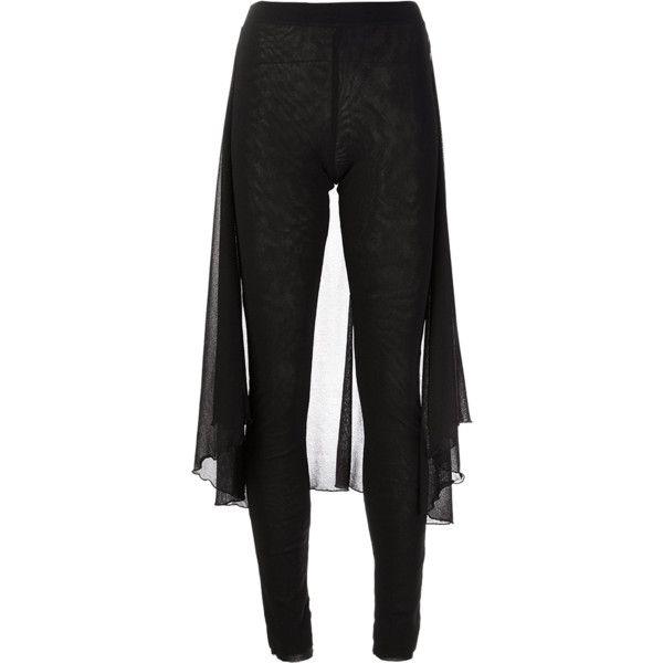 JEAN PAUL GAULTIER SOLIEL Leggings With Skirt ($270) ❤ liked on Polyvore featuring pants, leggings, pantalones, black, skinny pants, elastic pants, see through legging, sheer pants and high waisted leggings