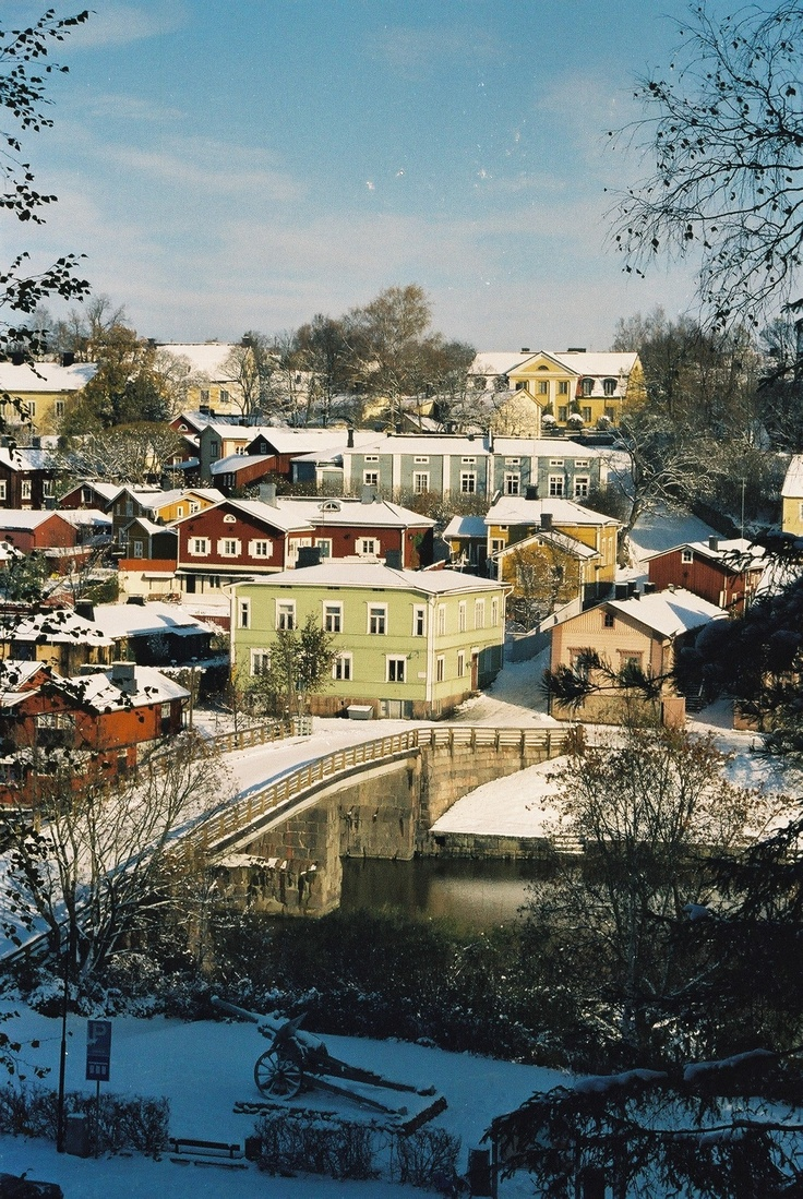 Winter in old town Porvoo, Finland.