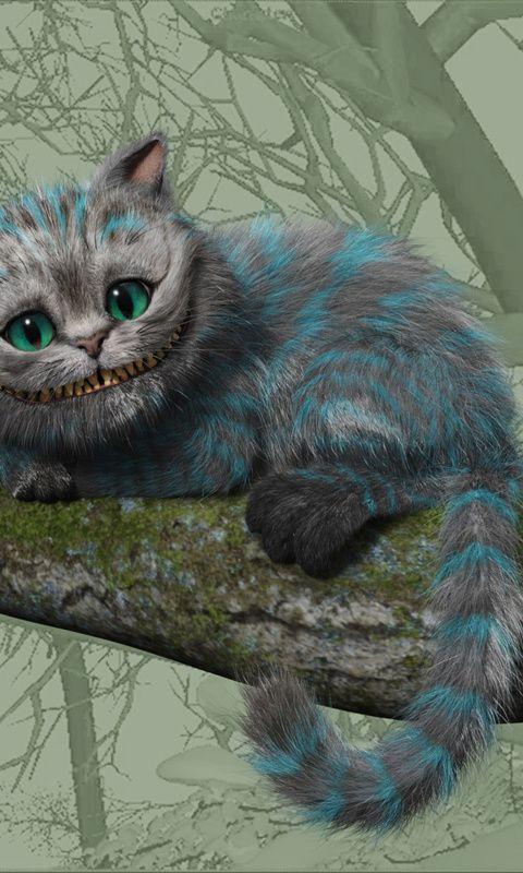 Рисунок чеширского кота и алисы