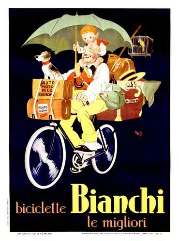 Vintage Italian Posters ~ #Italian #vintage #posters ~ Biciclette Bianchi