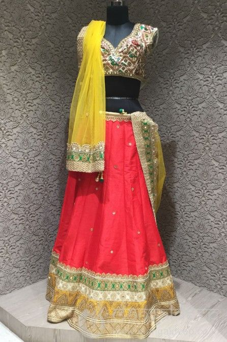 http://www.mangaldeep.co.in/lehengas/opulent-red-yellow-silk-readymade-bridal-lehenga-choli-6673 For more details contact us : +919377222211 (whatsapp available)