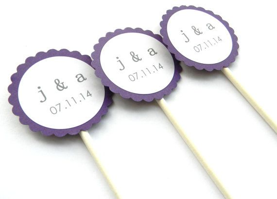 12 Wedding Initial Cupcake Toppers by thepartypenguin on Etsy
