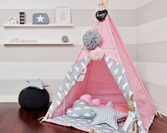 Teepee set with floor mat and pillows – Cloudy Rose