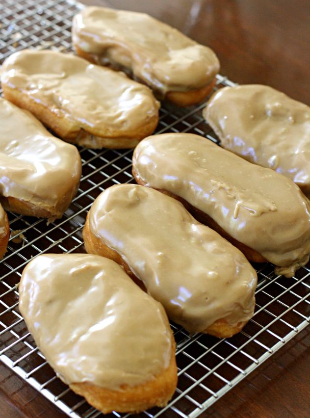 Maple glaze/icing perfect and easy. Heat 1/2 c brown sugar in  1/4 c butter until dissolved. Add 1.5 t maple flavor, 1 T corn syrup. Mix in 3 T milk, 2 c powdered sugar. So much yum.
