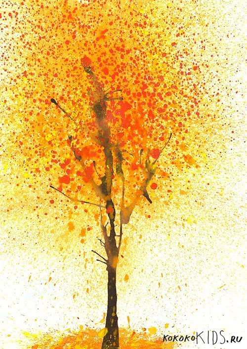 Splatter + Blow Painting - great fall art idea