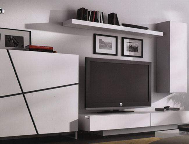 Muebles para salon moderno de chapa de mandera natural - Muebles en marchena ...