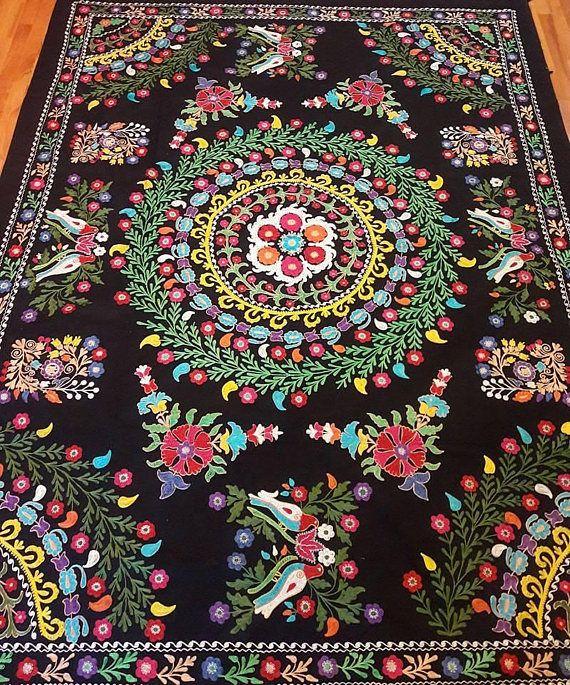 Uzbek vintage  embroidery suzani.Tablecloth Wall hanging
