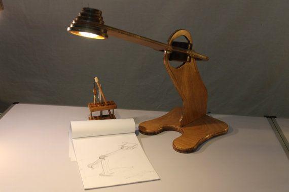 Lamp Desk wood Lamp wood / Desk Lamp LEONARDO  low by idealuminosa,