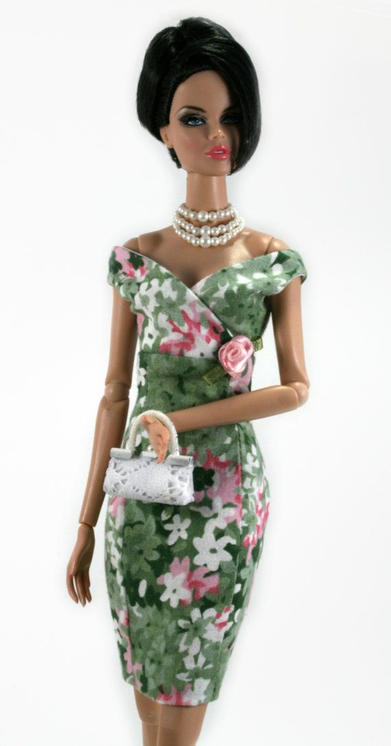 Green Pink & White Floral Dress with a Pink Rose for Barbie by Chic Barbie Designs on Etsy