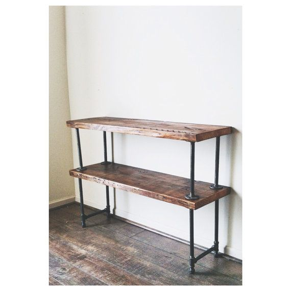 Reclaimed Wood Console Table Media Cart By