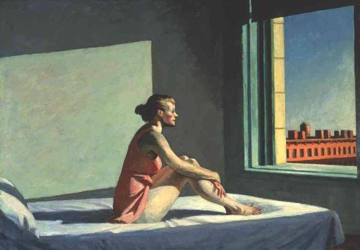 Sol da Manhã (Morning Sun) , 1952 por Edward Hopper Columbus Museum of Art (Ohio)  É uma das imagens finais do verão: uma mulher numa camisola cor de rosa sentada em uma cama, com os joelhos puxados até o peito, olhando para fora de uma janela. Seu cabelo está penteado para trás em um coque. Seus braços nus descansam levemente sobre suas pernas nuas.  Edward Hopper foi um dos primeiros artistas americanos a pintar a experiência do isolamento humano na cidade moderna. Em Sol da Manhã, a…