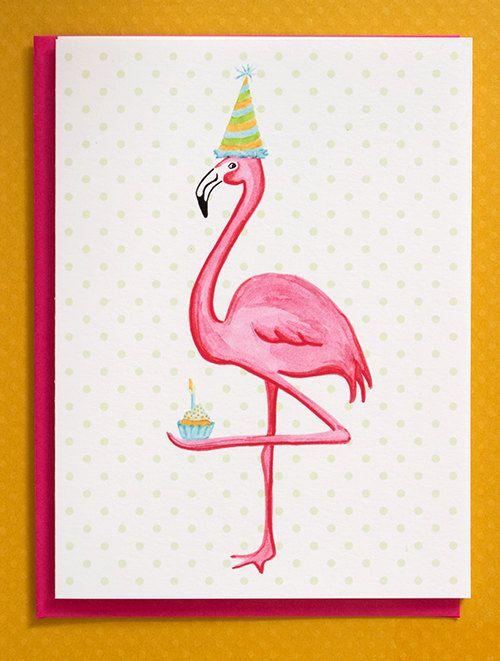 Сделать открытку, открытки с фламинго с днем рождения