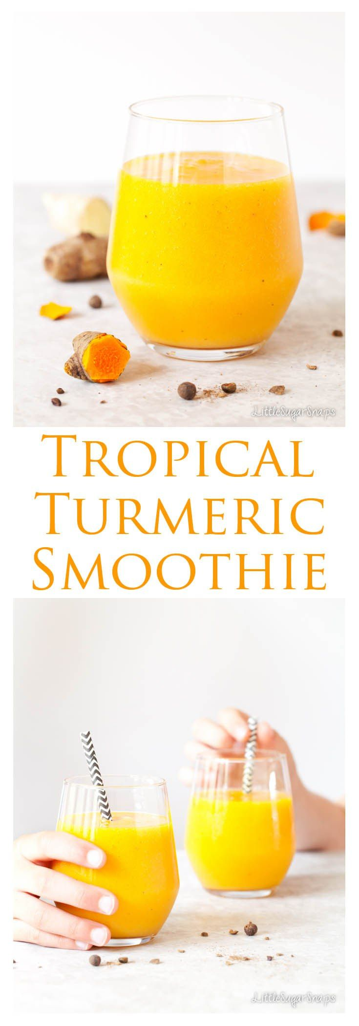 Tropical Turmeric Smoothie: Bright, cheerful and loaded with the goodness of turmeric, mango and pineapple, this anti-inflammatory Smoothie will ward of colds and flu throughout the year