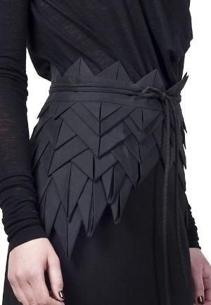 Origami Fashion - asymmetric origami belt with structural fabric manipulation to create layers, folds  repetition for a decorative effect; creative sewing // Freak Factory by lhammondknight