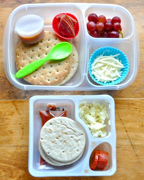 LunchablesPizzaThisOrThat - MOMables® - Healthy School Lunch Ideas - It looks so much better than the lunchable made one on the bottom.