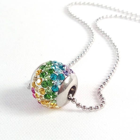 18mm Swarovski Crystal Steel ball pendant tray - Surgical Steel Jewelry - sparkle crystal and steel necklace by SteelJewelryShop on Etsy