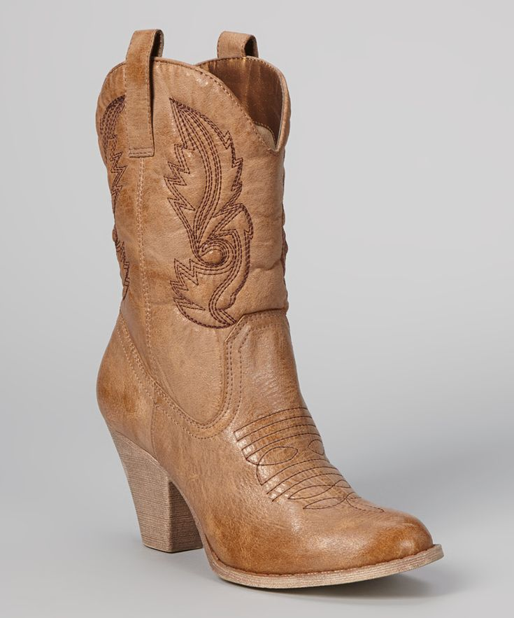 Tan Austin Embroidered Cowboy Boot