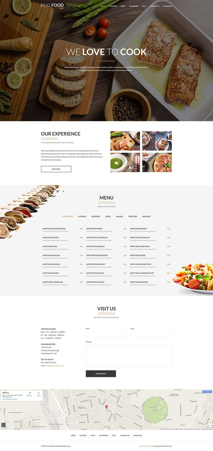 JM Best Food Bar for Joomla 3.x The template based on EF4 powerful framework. Responsive layout, integrated with Bootstrap + LESS support. Demo copy included. Included extensions (for free): DJ-EasyContact, DJ-MediaTools, DJ-MegaMenu, DJ-Reviews, DJ-Tabs Template details: https://www.joomla-monster.com/joomla-templates/i/8-food-a-drink/137-jm-best-food-bar