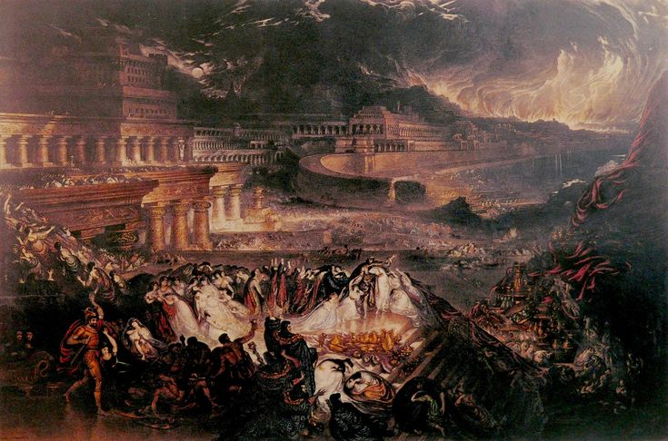 """The Fall of Nineveh,"" John Martin, 1828, oil on canvas, 83.85 x 133.85"", Victoria & Albert Museum."