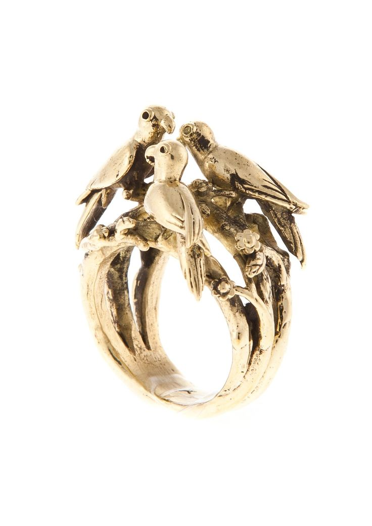 Just Fashion - JohannaN-  Skog ring with a birds nest in brass