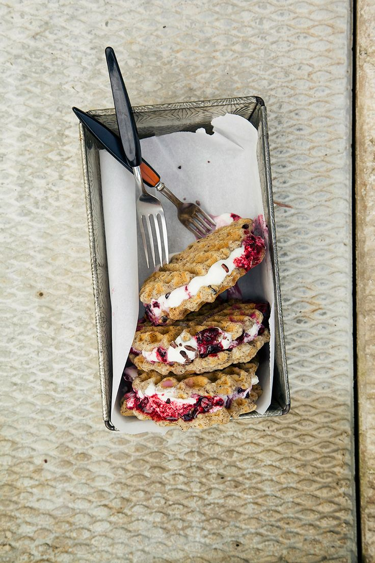 vanilla bean waffle ice cream sandwiches with maple berry mash
