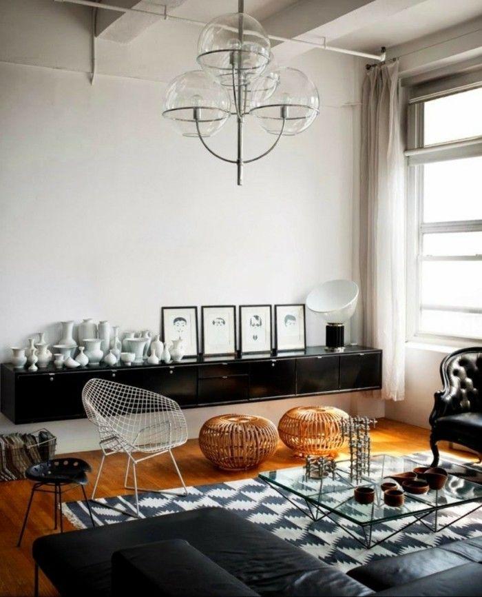 Wohnzimmer Lampen Industrieller Leuchter Und Graue Elemente