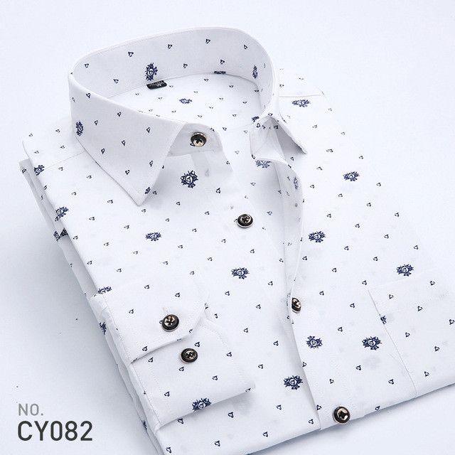 New Spring Men Casual Shirts Fashion Long Sleeve Brand Printed Button-Up Formal Business Polka Dot Floral Men Dress Shirt