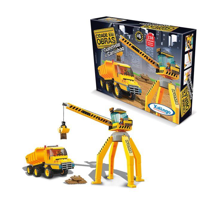 0606.5 - Blocos de Encaixe Cidade em Obras Guindaste e Caminhão | Contém 238 peças | Faixa Etária: +6 anos | Medidas: 33 x 6,5 x 24 cm | Jogos e Brinquedos | Xalingo Brinquedos | Crianças
