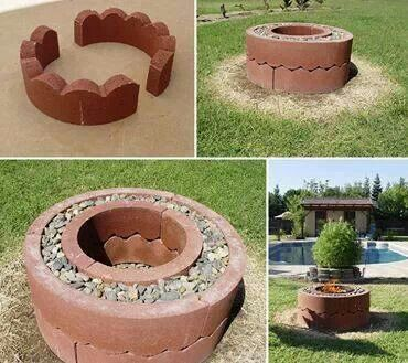 Curved landscaping bricks with river rock fire pit out for Do it yourself fire pit designs