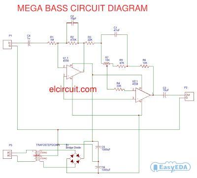Mega Bass Circuit using 4558   Electronic schematics ...