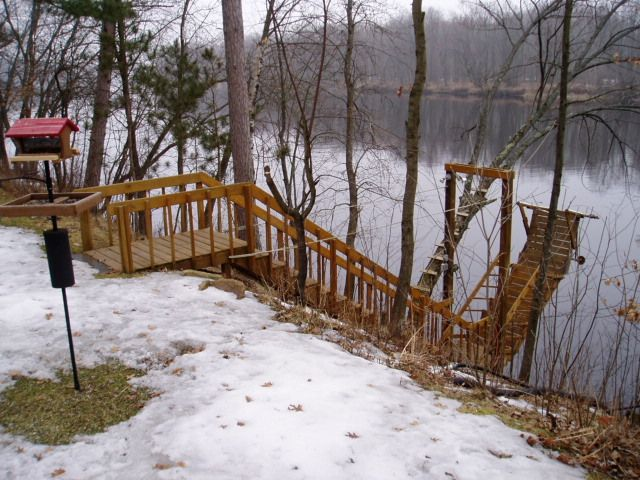 River stairs with cantilever dock river cabin dreams for Hillside elevator kit