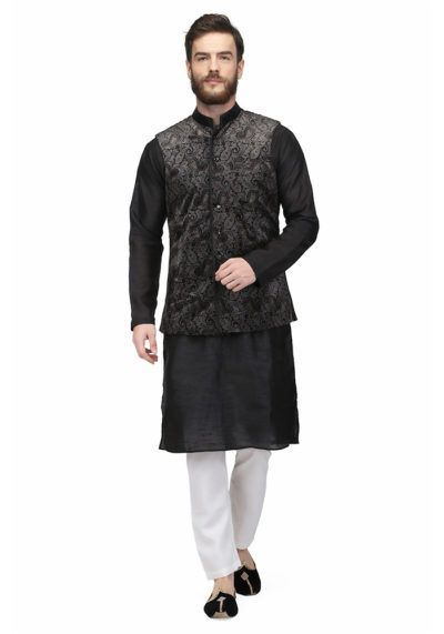 Grey Colored Printed Velvet Nehru Jacket By Pret a Porter