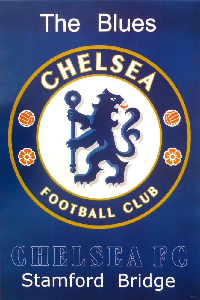 "CHELSEA FC ""THE BLUES TEAM LOGO"" POSTER - UEFA Soccer / Football, Premier League 