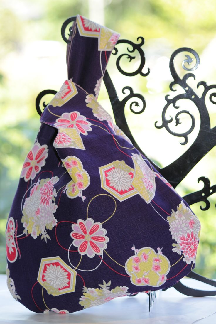 "This ""knot bag"" is purple Kimono fabric and purple Japanese design fabric."
