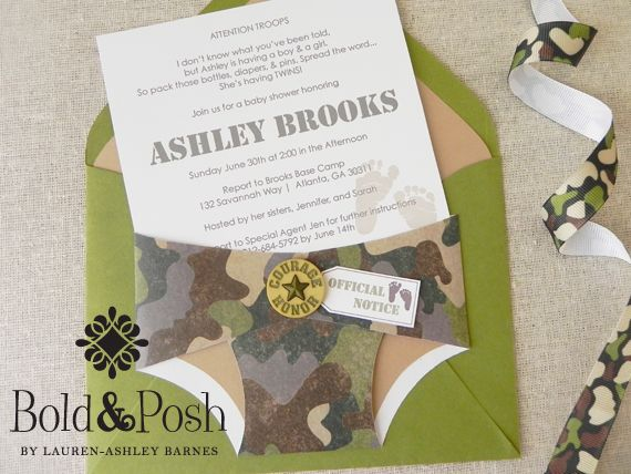 Military Themed Baby Shower Invites Idea For Kalie Pinterest Invitations And Diapers