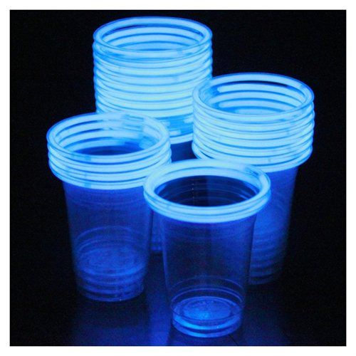 Glowing plastic cups for BBQs, pool parties and outside get togethers after the sun goes down
