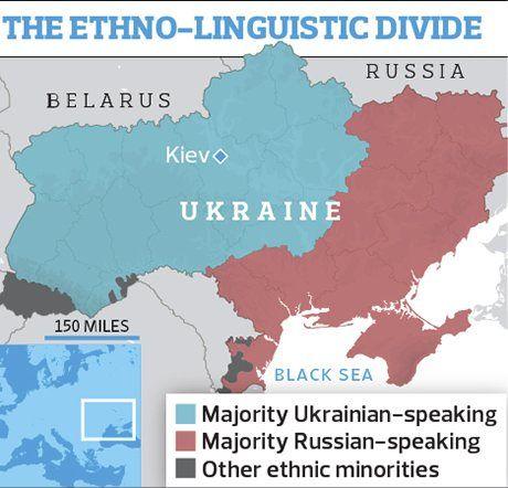 Ukraine's ethno-linguistic divide. Photograph: Observer