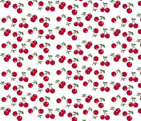 Cherries red x white fabric by mezzo on Spoonflower - custom fabric