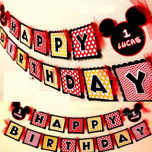 Make your own Mickey Mouse Happy Birthday party paper Flag/Bunting/banner/Garland decoration w/your Name&Age