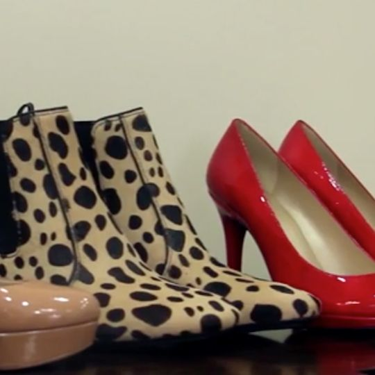 Matching heels to clothing is all about considering the proportions and shapes.