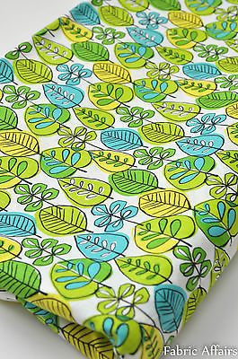 Pure Cotton Fabric Retro FQ Spring Summer Green Leaves Foilage