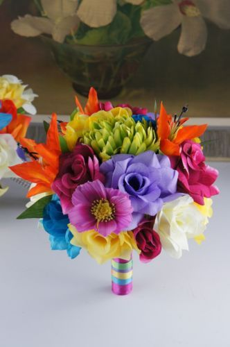 Colorful-Rainbow-bouquet-Artificial-Flower-Bridal-Wedding-Vows-Renewal
