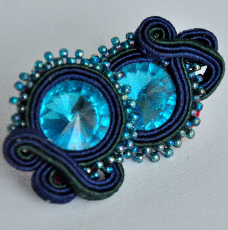 Croatia, Egypt, sea, Cote d'Azur, blue, Svarowski, Swarowski, Svarovski, Swarovski, deep, little, soutache, small, sutasz, earrings,, handmade, made in poland,