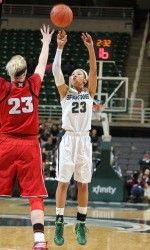 The Michigan State womens basketball team never trailed and controlled the action against No. 16/14 Nebraska on Thursday night, topping the Huskers, 70-57. Senior Annalise Pickrel and redshirt freshman Aerial Powers each scored 17 points and posted double-doubles, as the Spartans improved to 10-5 overall and 2-0 in the Big Ten.