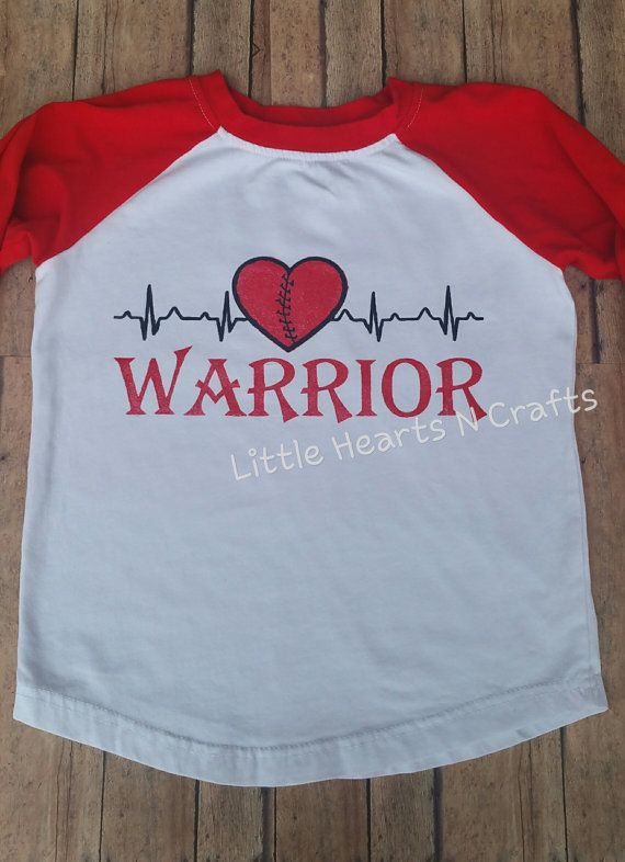 A heart beat warrior shirt to celebrate your special heart warriors strength. Shirts are available in a white tee or a red/white raglan 3/4 sleeves. The girls shirt will have the red glitter color and the boys will have a solid red color in the image. Each shirt is handmade with