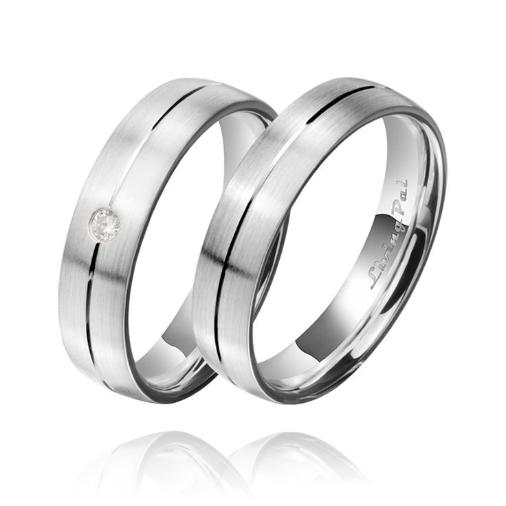 Livingpal Gold Plated Center Line Matte Finished Platinum Silver Bridegroom Ring Wedding Bands