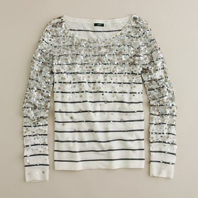 J Crew Merino Confetti Stripe Sweater. Can I get an elongated version of this for my wedding dress? With a leather belt?