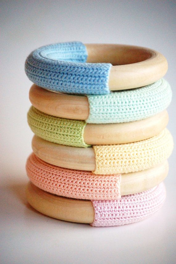 Waldorf-Baby-Teething- WOOD n WOOL- PASTEL Collection- Natural Maple Wood Crochet Teething Ring Baby Toy- Rainbow Colors- You Pick