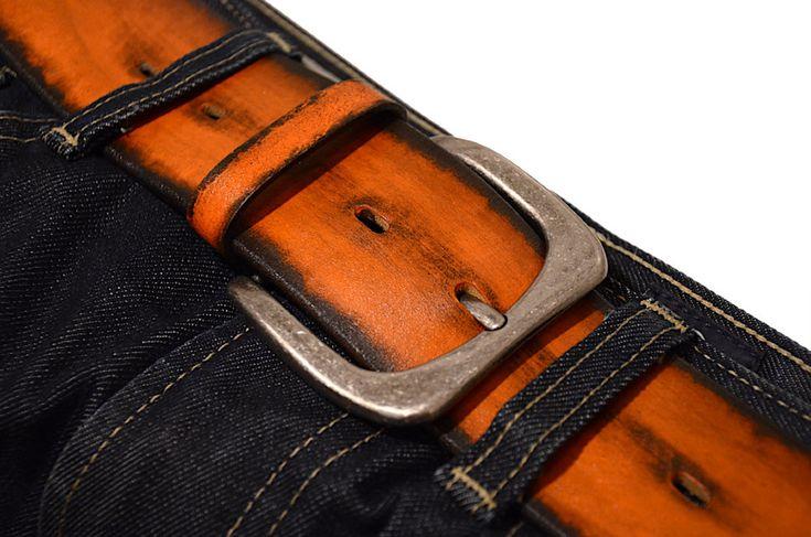 Мужской широкий ремень в джинсы. Ярко рыжий. Ширина 5 см.