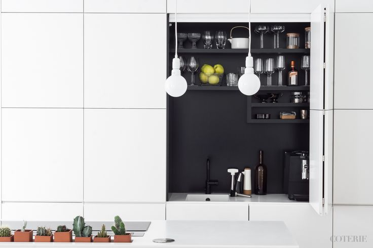 Two friends, one blog driven by a passion for fashion and interior. Join our coterie at www.coterie.fi   #Coterieofficial #Coterie #blog #interior #home #deco #decoration #decor #white #modern #Scandinavian #scandinavianstyle #scandinatiandesign #kitchen #minimalistic #Finland #Helsinki #kitchencabinets #cabinets #dishes #glasses #teapot #marimekko #champagneglasses #iittala #Esscence #wineglasses #Riedel #tap #kitchentap #Nivito #cactuses